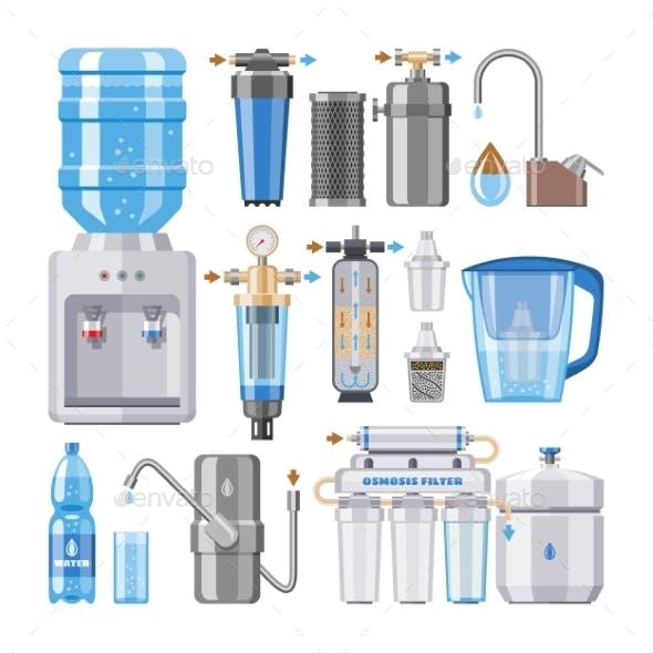 Water Filter Vector Filtering Clean Drink