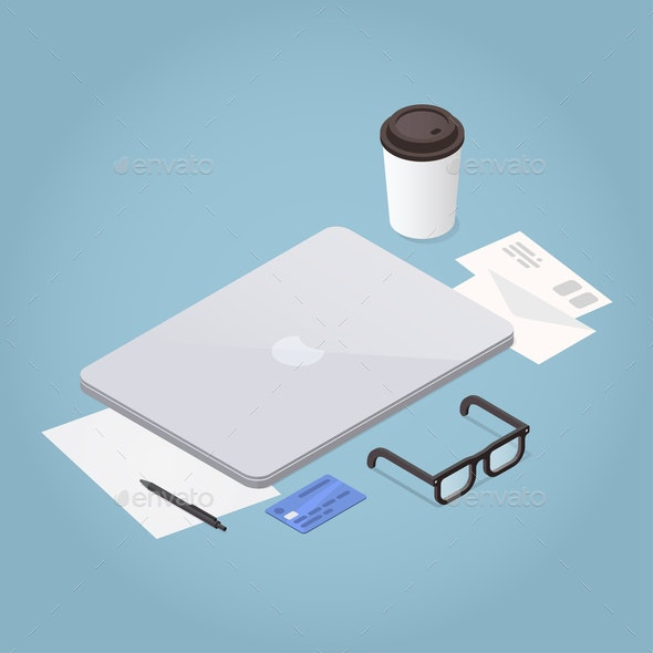 Isometric Laptop Workstation Illustration - Concepts Business