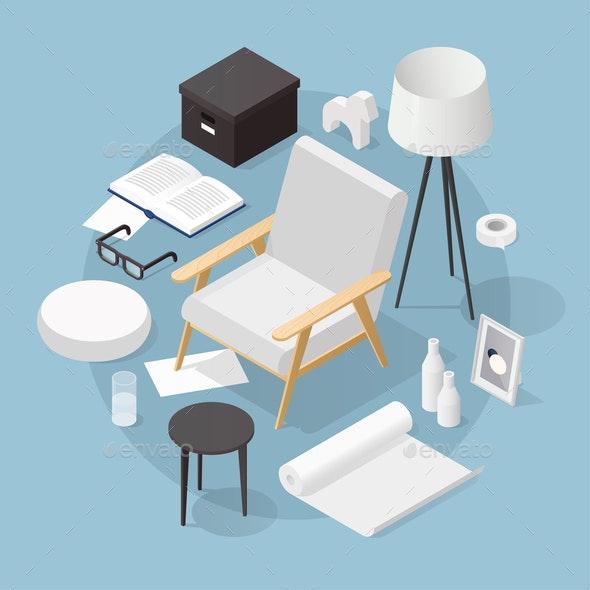 Isometric Home Decoration Illustration - Miscellaneous Vectors