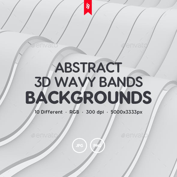 White Wavy Bands Abstract 3D Backgrounds