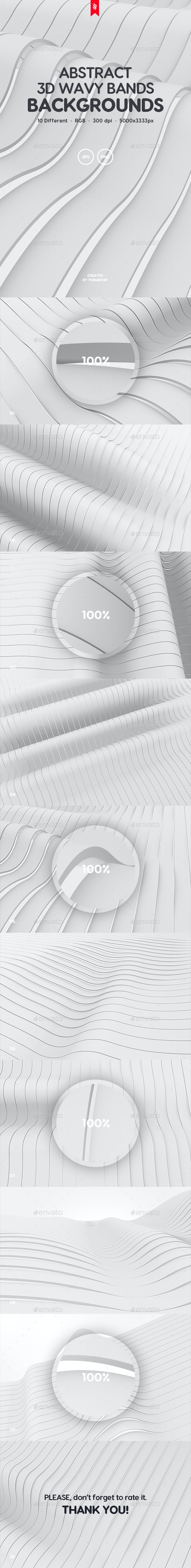 White Wavy Bands Abstract 3D Backgrounds - Abstract Backgrounds