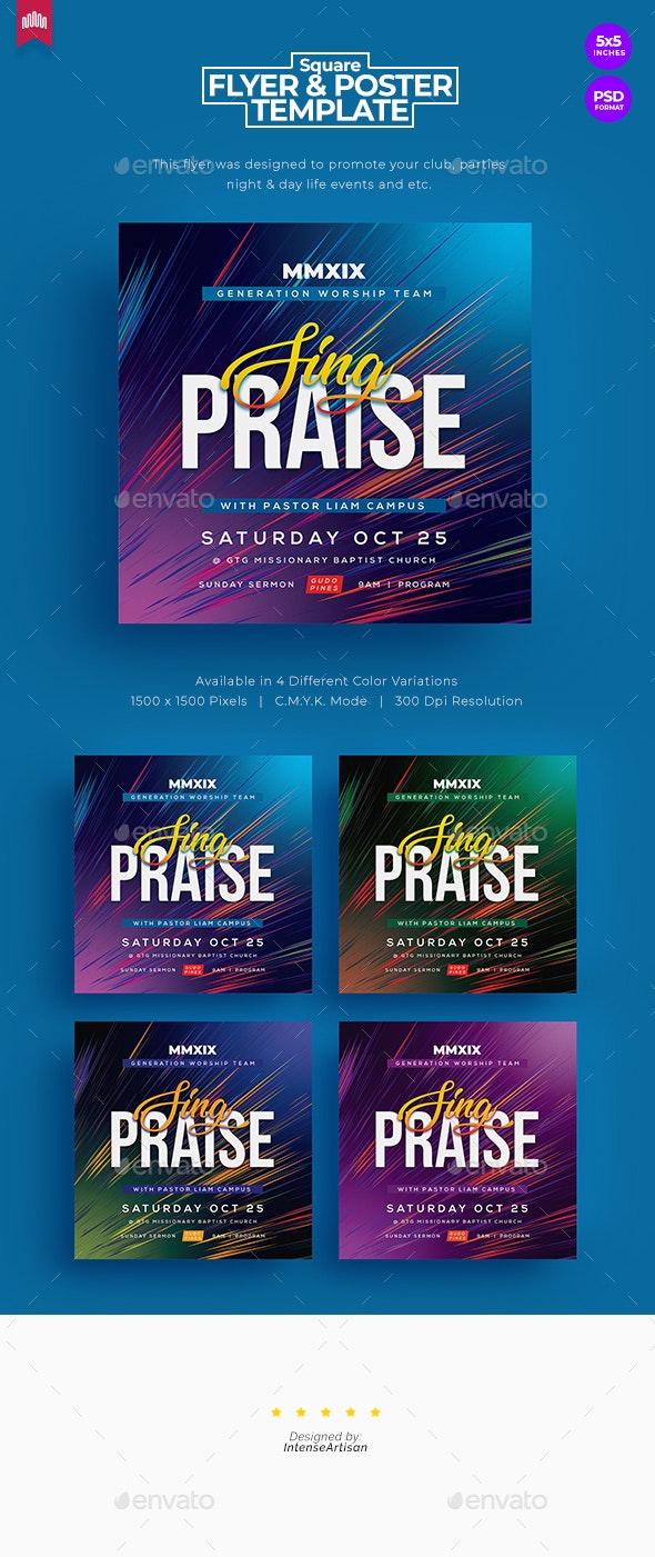 Sing Praise - Square Church Flyer - Church Flyers