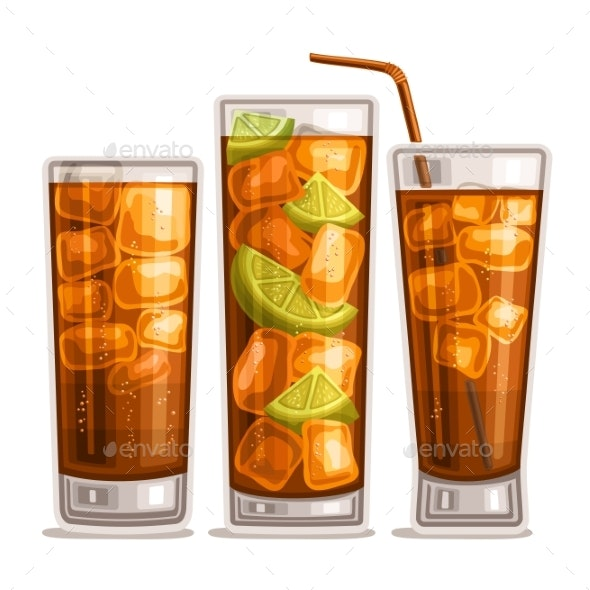 Vector Set of Fizzy Drinks - Food Objects
