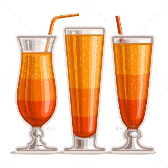 Vector Set of Orange Cocktails - Food Objects