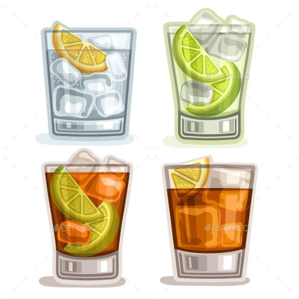Vector Set of Drinks - Food Objects