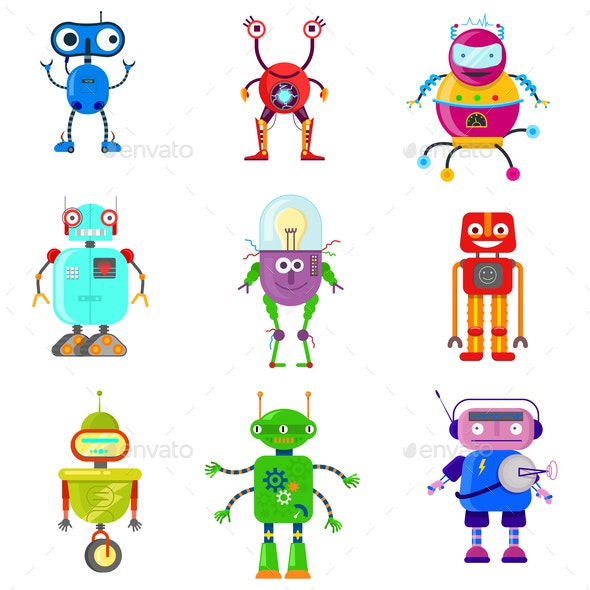 Robots in Flat Style - Miscellaneous Characters
