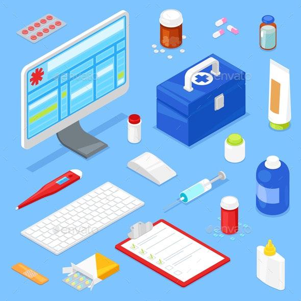 Isometric Medical Equipment - Computers Technology