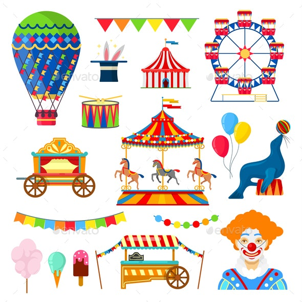 Circus and Amusement Icons - Miscellaneous Vectors