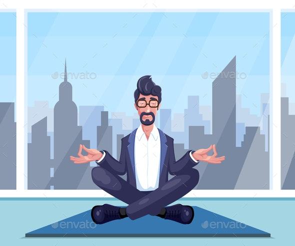 Businessman Practices Yoga - Sports/Activity Conceptual