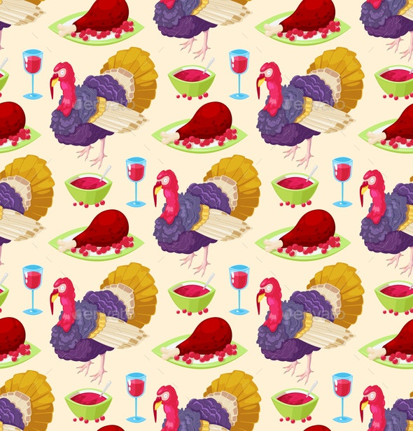 Pattern for Thanksgiving Day - Food Objects