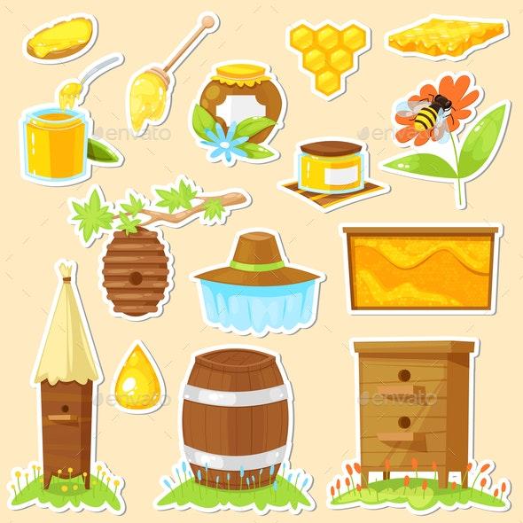 Cartoon Stickers of Beekeeping - Flowers & Plants Nature