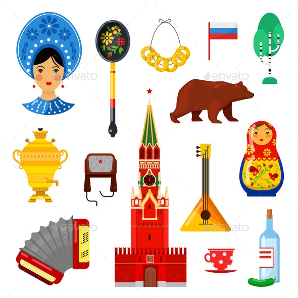 Traditional Russian Attributes - Miscellaneous Vectors