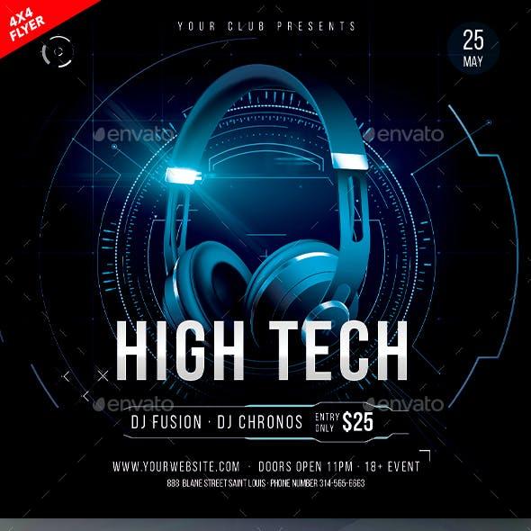 High Tech 4x4 Inch Flyer Template