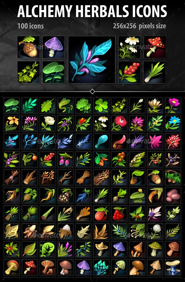 Alchemy Herbs Icons - Miscellaneous Game Assets
