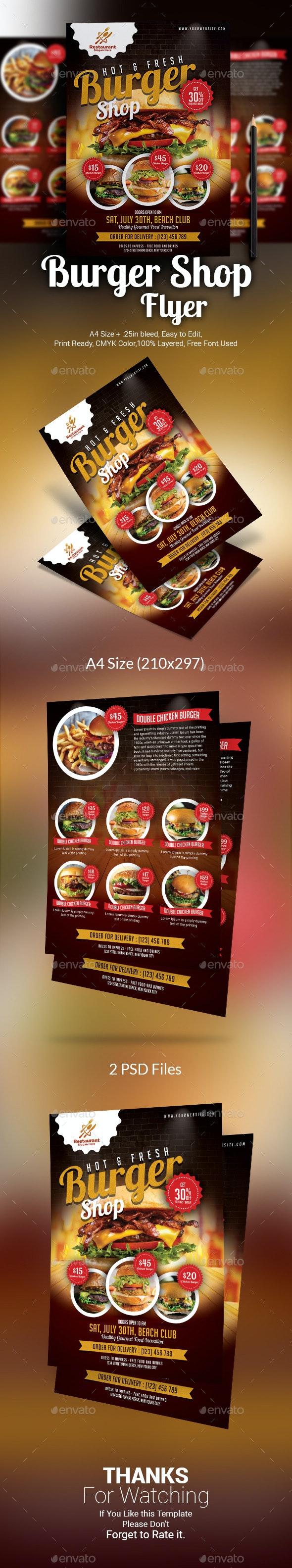 Burger Shop Menu Template - Restaurant Flyers