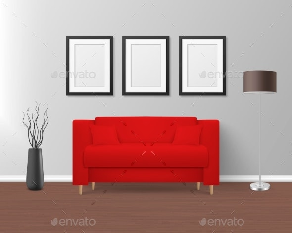 Vector Realistic Render Red Sofa in Room - Man-made Objects Objects