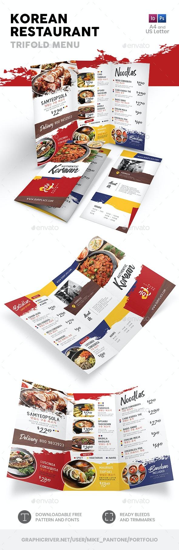 Korean Restaurant Trifold Menu 3 - Food Menus Print Templates