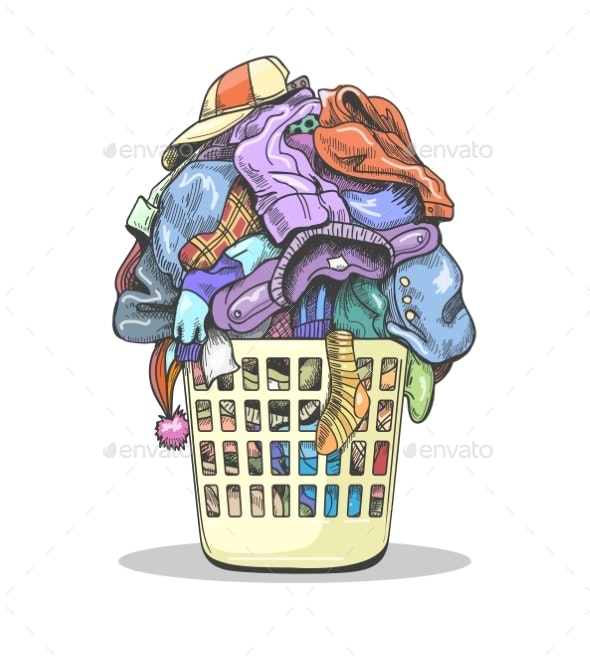 Clothes Laundry Basket - Objects Vectors