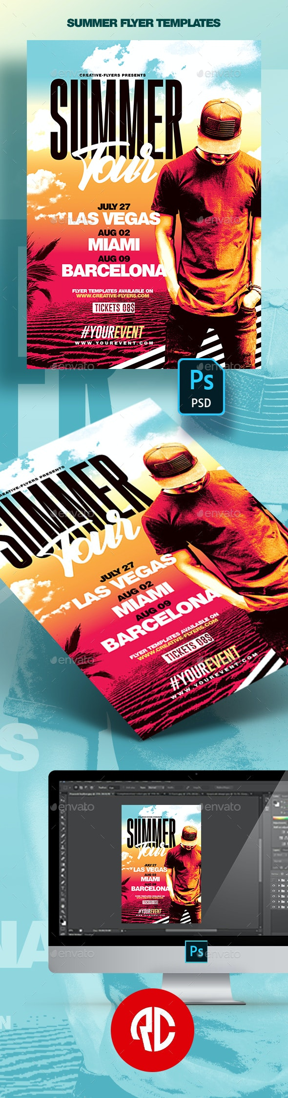 Summer Festivals - PSD Flyer Templates - Events Flyers