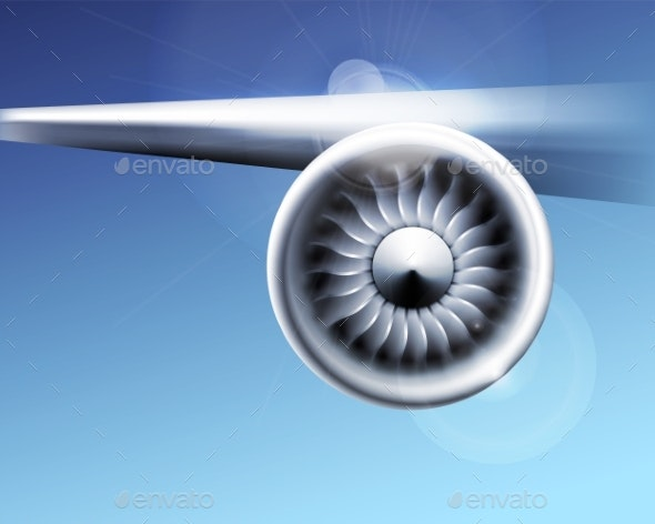 Turbine Engine Jet for Airplane with Fan Blades - Man-made Objects Objects