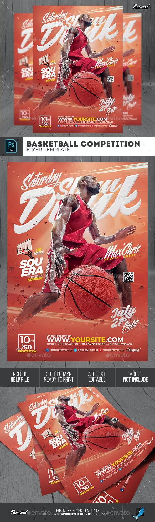 Basketball Competition Flyer Template - Sports Events