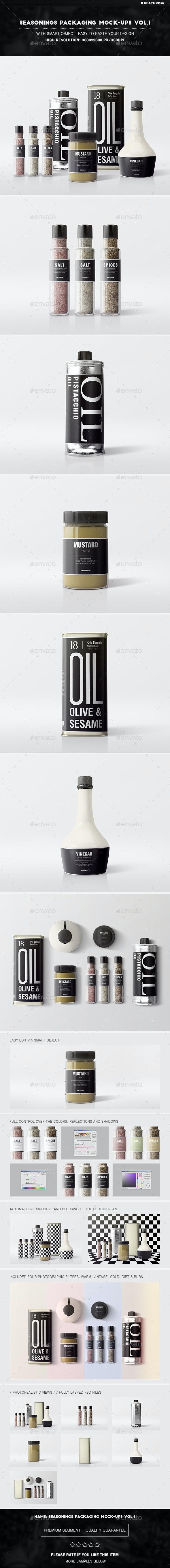 Seasonings Packaging Mock-Ups Vol.1 - Food and Drink Packaging