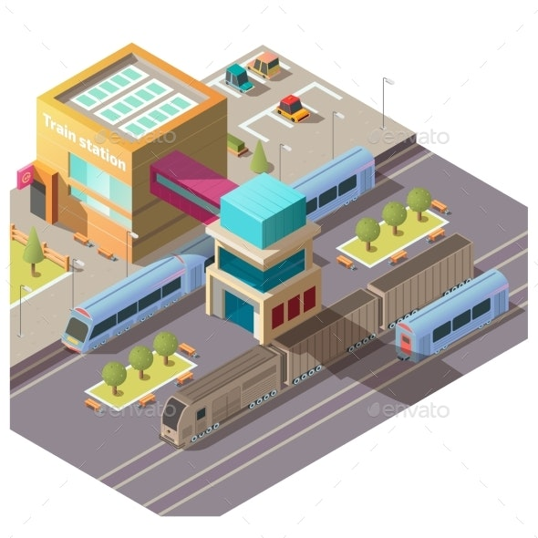 Modern Train Station Building Isometric Vector - Buildings Objects