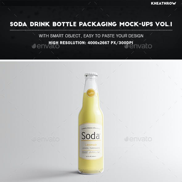 Soda Drink Bottle Packaging Mock-Ups Vol.1
