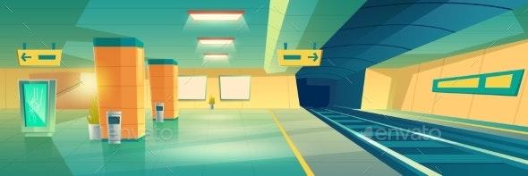 Subway Metro Underground Station Interior Vector - Backgrounds Decorative