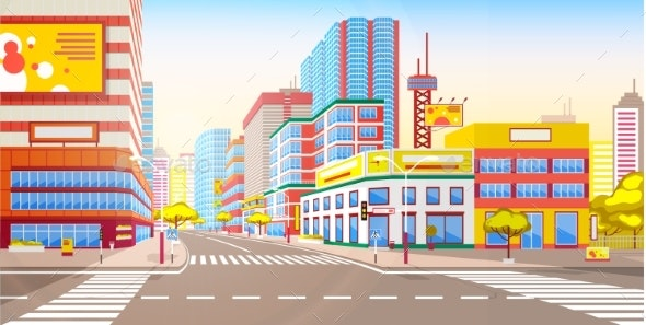 Cityscape and Modern Roads - Buildings Objects
