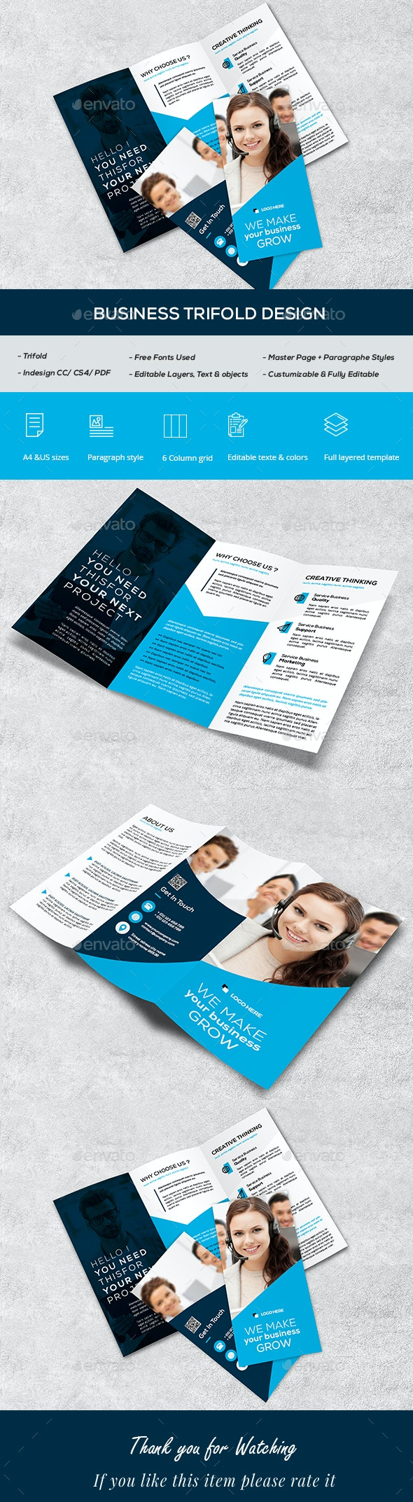 Business Trifold Brcohure - Brochures Print Templates