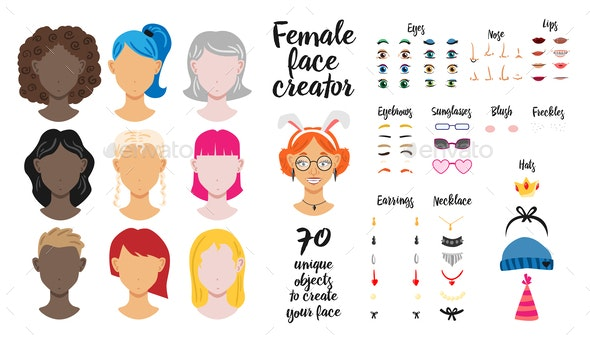 Unique Objects to Create Female Face - People Characters