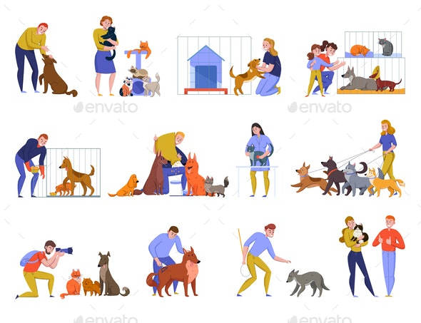 Animal Shelter People Set - Animals Characters