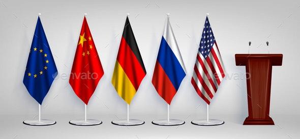 Tribune Flag Realistic Set - Backgrounds Decorative