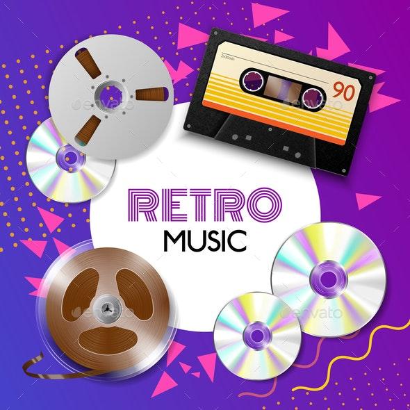 Realistic Vintage Music Composition - Retro Technology