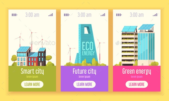 Smart City Vertical Banners - Buildings Objects