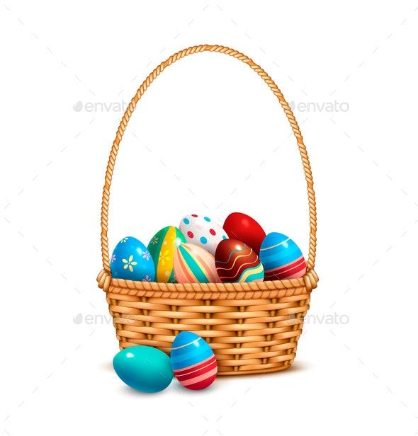 Wicker Basket Eggs Realistic - Miscellaneous Vectors