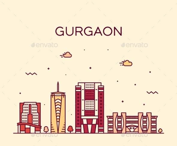 Gurgaon Skyline Haryana India Vector Linear Style - Buildings Objects