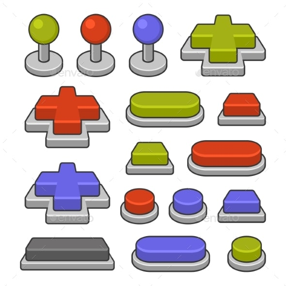 Joystick and Gamepad Buttons Set on White - Miscellaneous Vectors