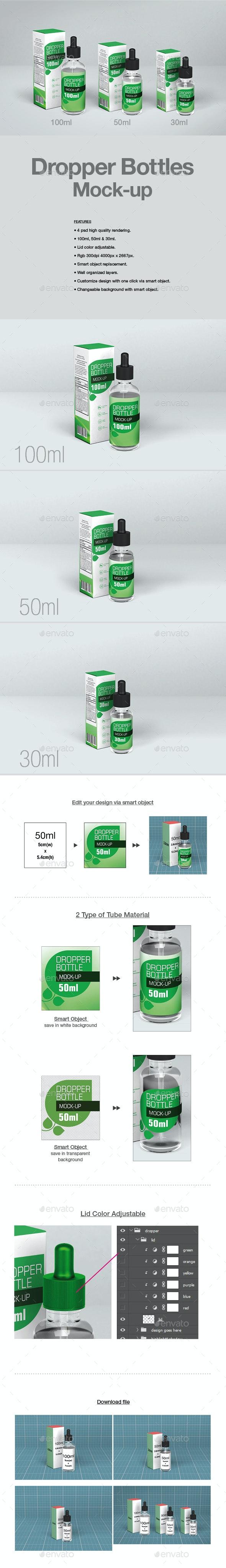 Dropper Bottles Mock-up - Packaging Product Mock-Ups