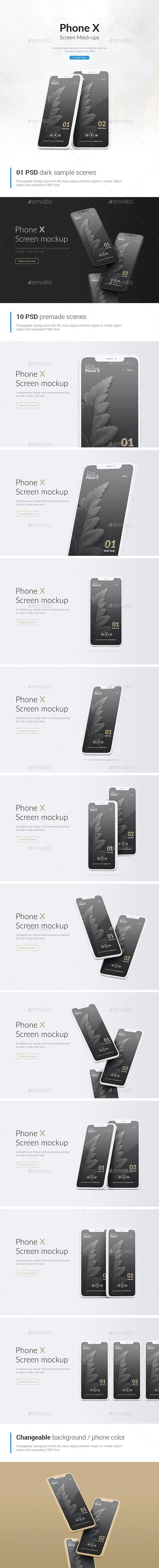 Phone Mockup / Clay Phone X Mockup / App Screen Mockup - Mobile Displays