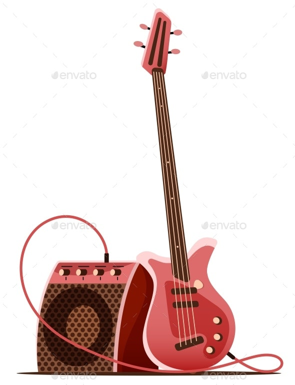 Bass Guitar with Amplifier - Man-made Objects Objects