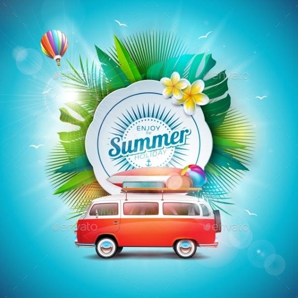 Vector Summer Time Holiday Illustration - Seasons Nature