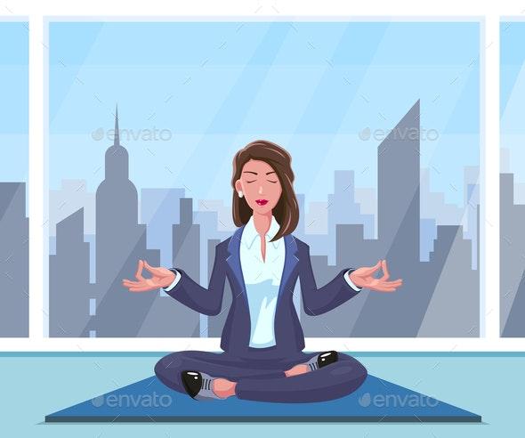 Businesswoman Practices Yoga - Sports/Activity Conceptual