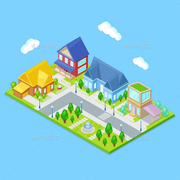 Isometric City Infrastructure - Buildings Objects