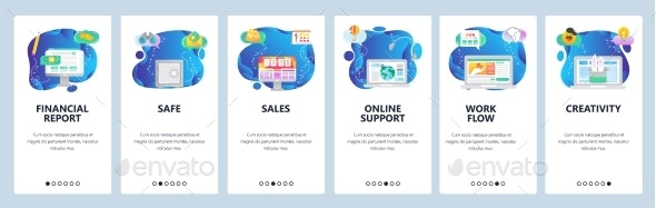 Website and Mobile App Onboarding Screens Vector - Concepts Business