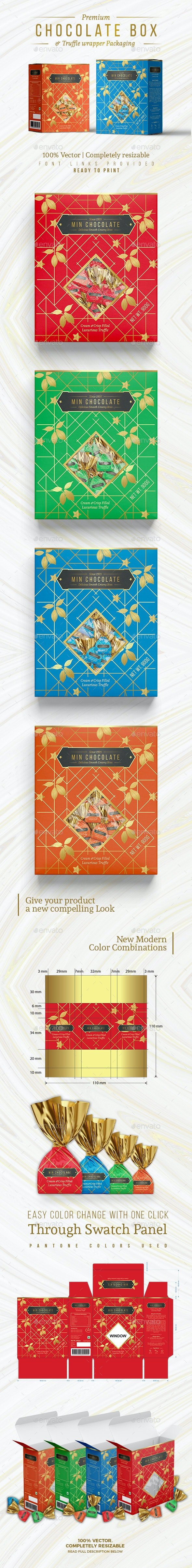 Chocolate Box and Truffle Wrapper Packaging - Packaging Print Templates