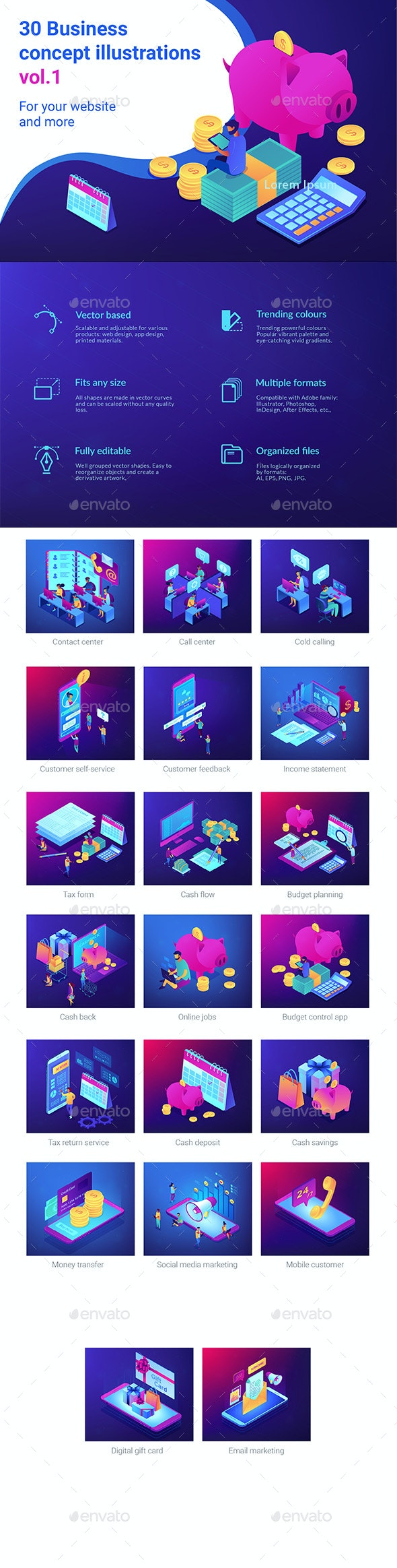 Isometric UV Business Concept Illustrations - Concepts Business