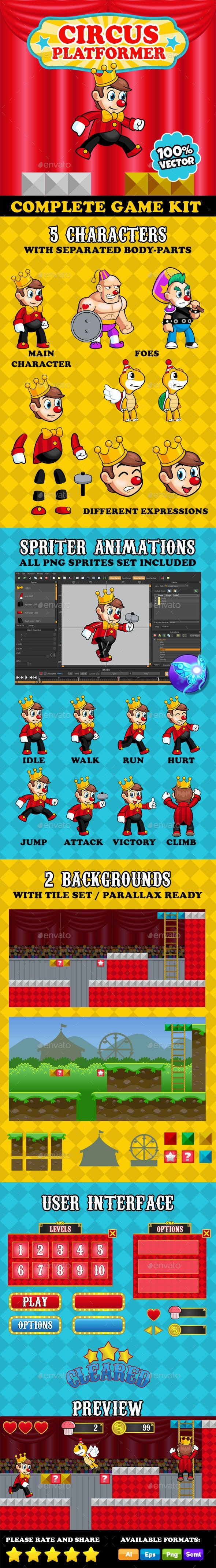 Circus Platformer - Complete Game Kit - Game Kits Game Assets