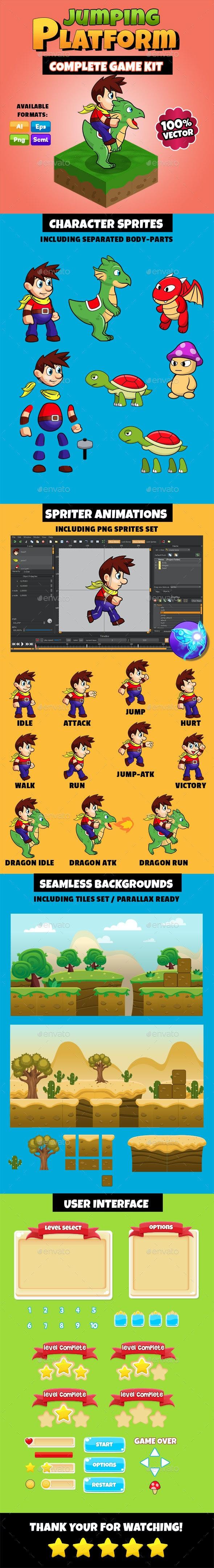 Jumping Platform - Complete Game Kit - Game Kits Game Assets